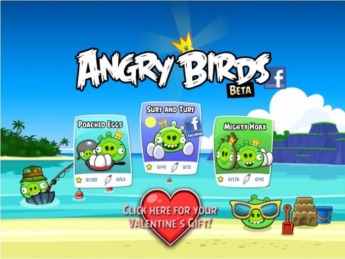 Angry Birds Facebook pantalla principal