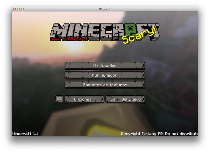 Pantalla de inicio de Minecraft