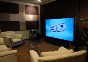 Salón con TV 3D