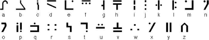 Alfabeto Galáctico Estandar para encantamientos