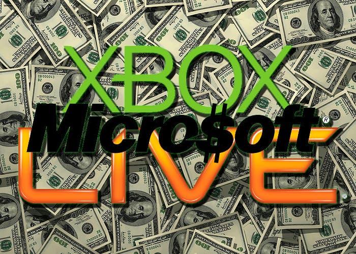 montaje xbox live y logo de microsoft con simbolo de dolar