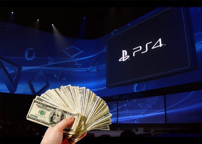 Fajo de dólares en la presentación de PS4