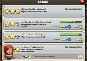 clash of clans logros achievements