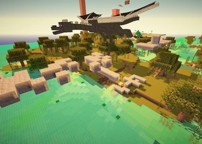 Minecraft escapa del dragón