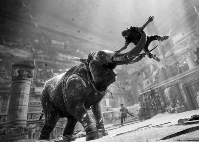 Imagen de un elefante atacando