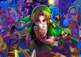 The Legend of Zelda Majoras Mask 3D personajes y portada