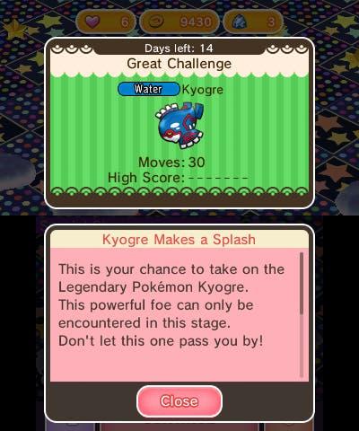 Pokémon Shuffle Kyogre actualización 1.1.2