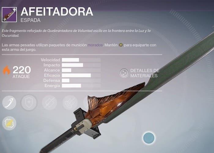 Destiny espada de leyenda
