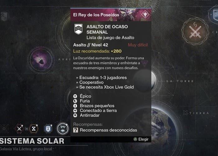 Destiny reset 20 octubre