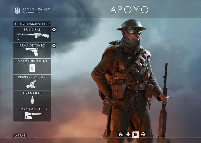 apoyo battlefield equipamiento