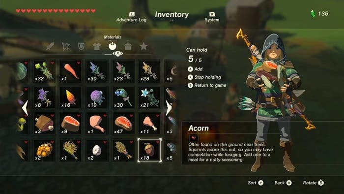 Zelda Breath of the Wild ingredientes