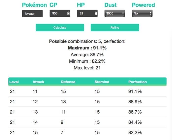 Pokémon GO calculadora